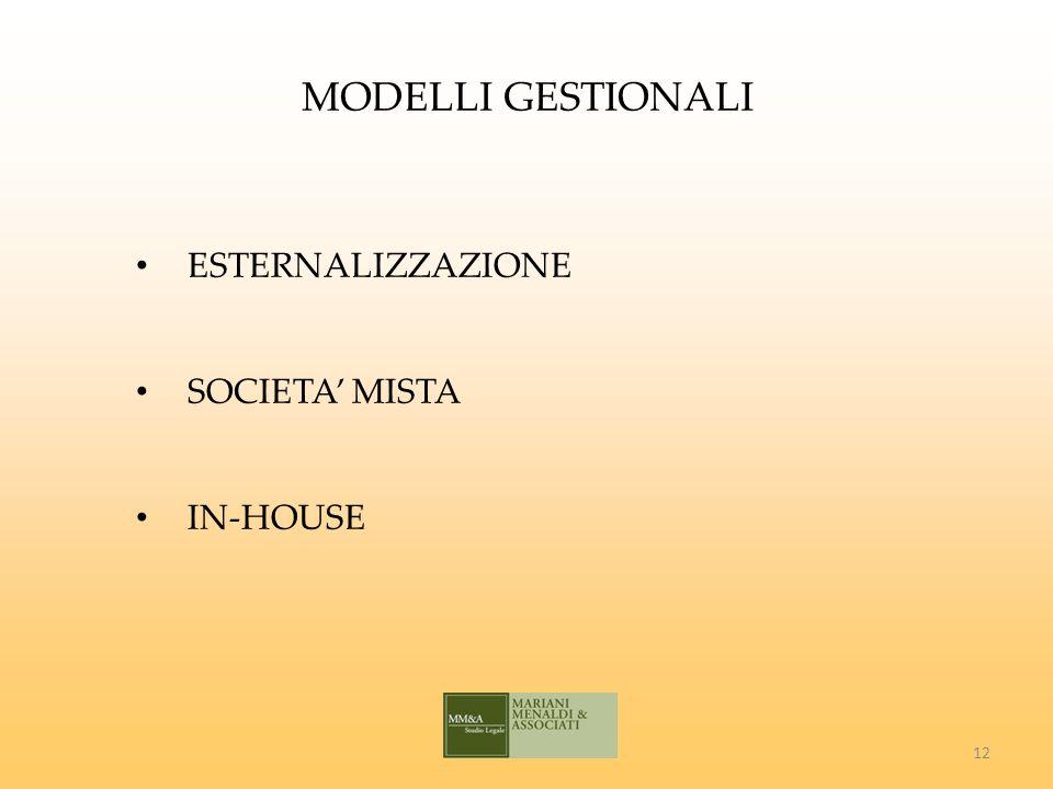 MODELLI GESTIONALI ESTERNALIZZAZIONE SOCIETA MISTA IN-HOUSE 12