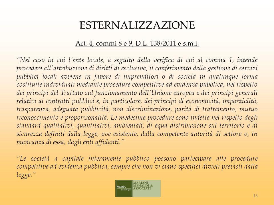 ESTERNALIZZAZIONE Art. 4, commi 8 e 9, D.L. 138/2011 e s.m.i.