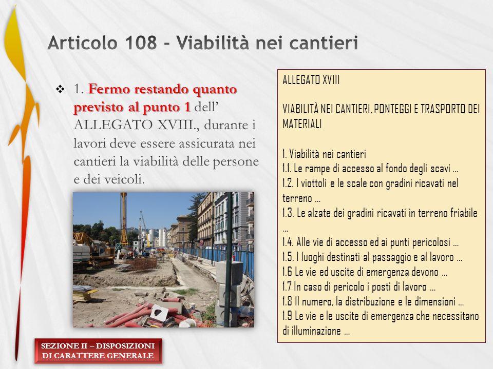 SEZIONE II – DISPOSIZIONI DI CARATTERE GENERALE ALLEGATO XVIII VIABILITÀ NEI CANTIERI, PONTEGGI E TRASPORTO DEI MATERIALI 1. Viabilità nei cantieri 1.