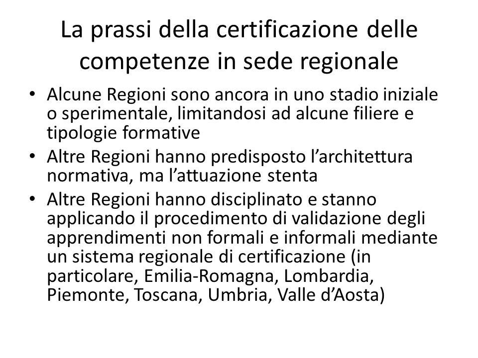 La prassi della certificazione delle competenze in sede regionale Alcune Regioni sono ancora in uno stadio iniziale o sperimentale, limitandosi ad alc