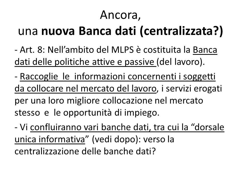 Ancora, una nuova Banca dati (centralizzata?) - Art. 8: Nellambito del MLPS è costituita la Banca dati delle politiche attive e passive (del lavoro).