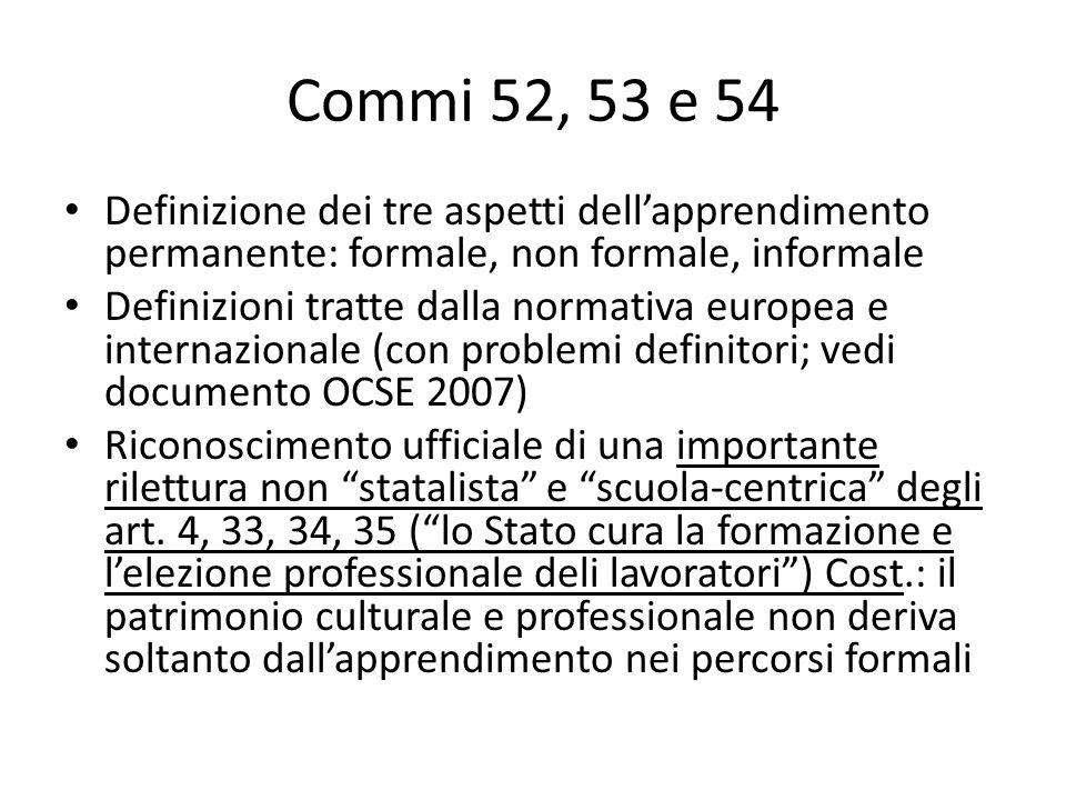 Commi 52, 53 e 54 Definizione dei tre aspetti dellapprendimento permanente: formale, non formale, informale Definizioni tratte dalla normativa europea