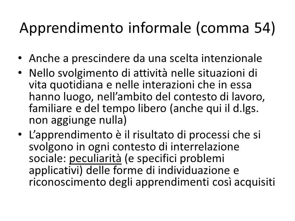 Apprendimento informale (comma 54) Anche a prescindere da una scelta intenzionale Nello svolgimento di attività nelle situazioni di vita quotidiana e