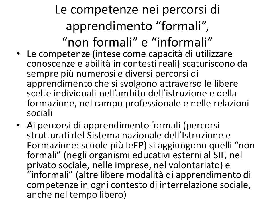 Le competenze nei percorsi di apprendimento formali, non formali e informali Le competenze (intese come capacità di utilizzare conoscenze e abilità in