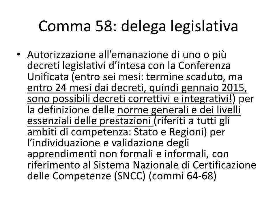 Comma 58: delega legislativa Autorizzazione allemanazione di uno o più decreti legislativi dintesa con la Conferenza Unificata (entro sei mesi: termin