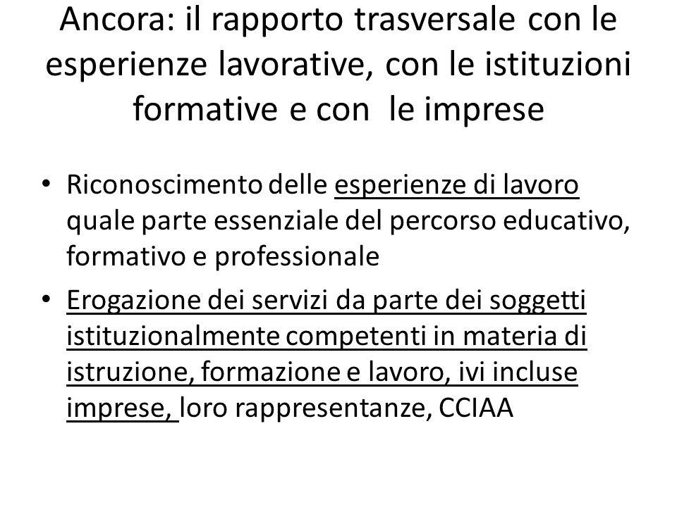 Ancora: il rapporto trasversale con le esperienze lavorative, con le istituzioni formative e con le imprese Riconoscimento delle esperienze di lavoro