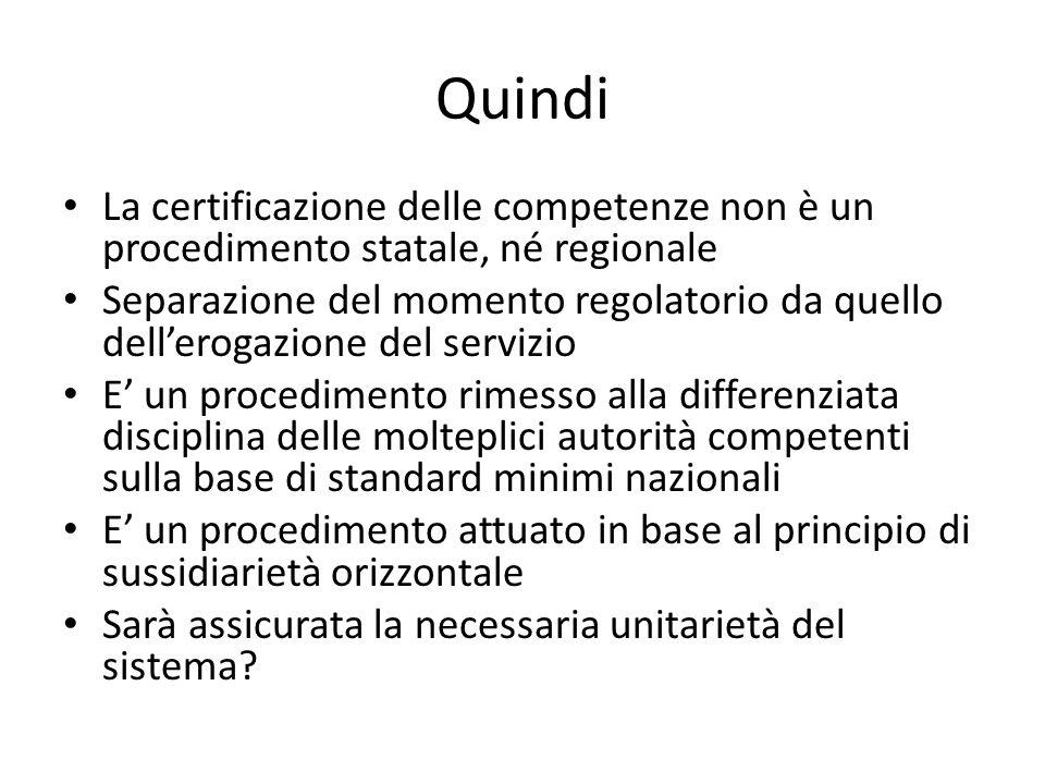 Quindi La certificazione delle competenze non è un procedimento statale, né regionale Separazione del momento regolatorio da quello dellerogazione del