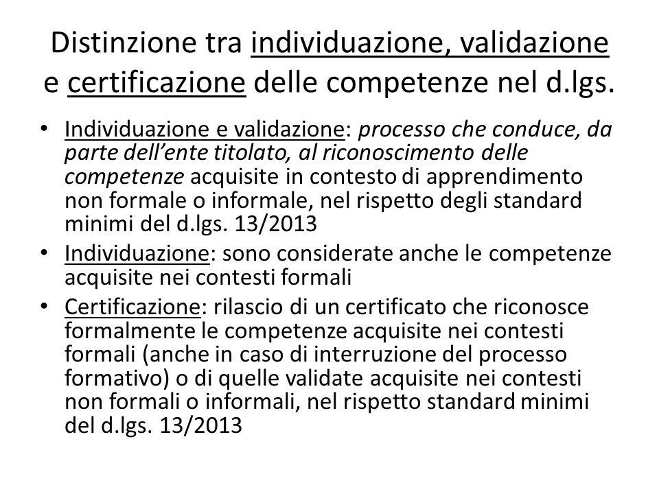 Distinzione tra individuazione, validazione e certificazione delle competenze nel d.lgs. Individuazione e validazione: processo che conduce, da parte