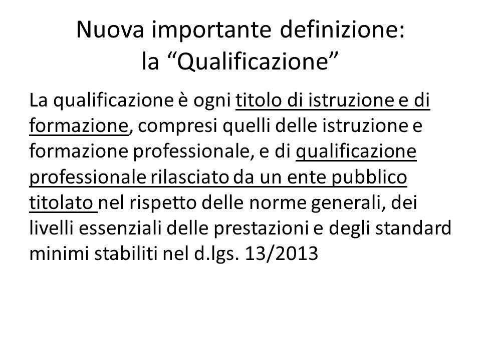 Nuova importante definizione: la Qualificazione La qualificazione è ogni titolo di istruzione e di formazione, compresi quelli delle istruzione e form