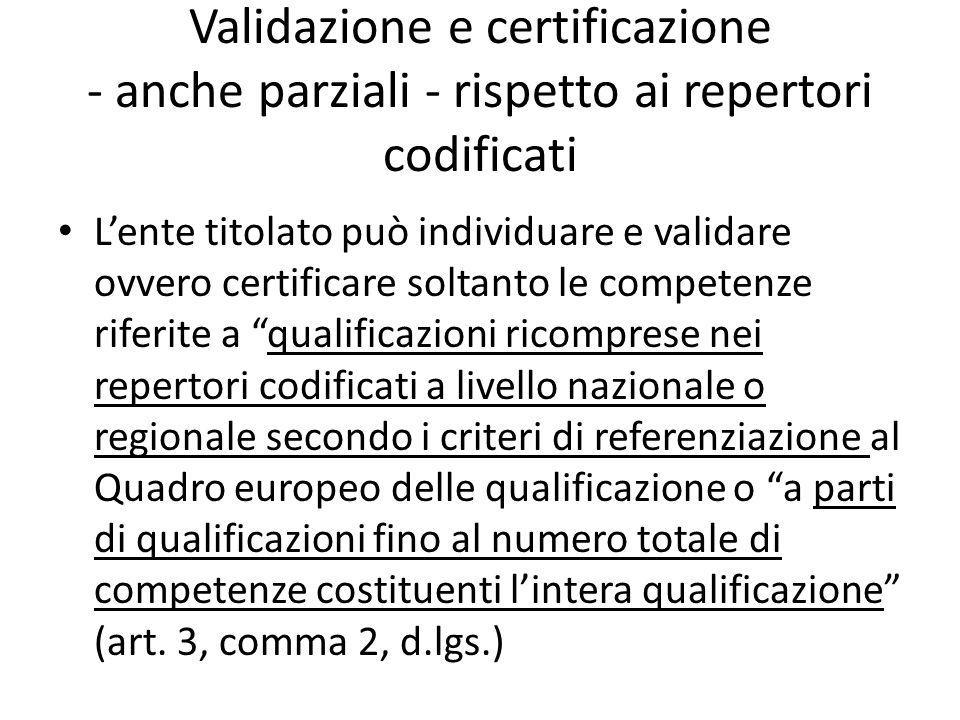 Validazione e certificazione - anche parziali - rispetto ai repertori codificati Lente titolato può individuare e validare ovvero certificare soltanto