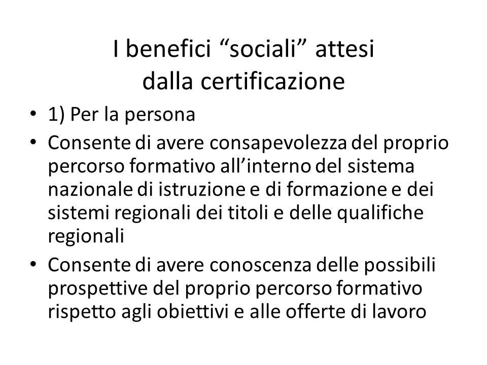 I benefici sociali attesi dalla certificazione 1) Per la persona Consente di avere consapevolezza del proprio percorso formativo allinterno del sistem
