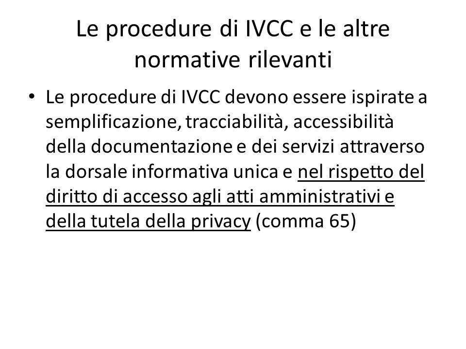 Le procedure di IVCC e le altre normative rilevanti Le procedure di IVCC devono essere ispirate a semplificazione, tracciabilità, accessibilità della