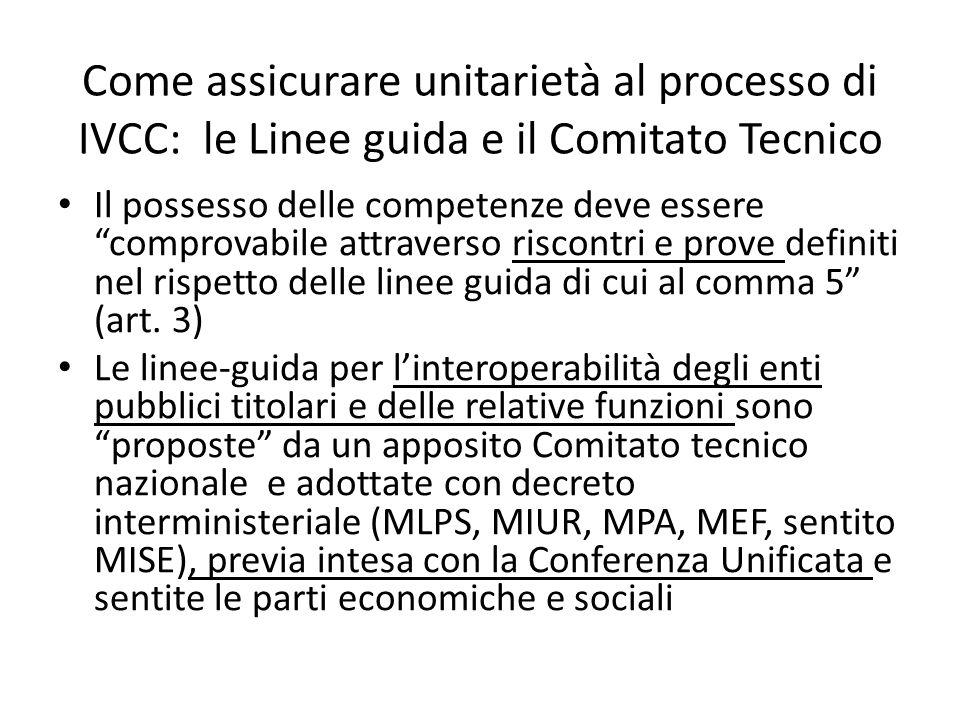 Come assicurare unitarietà al processo di IVCC: le Linee guida e il Comitato Tecnico Il possesso delle competenze deve essere comprovabile attraverso