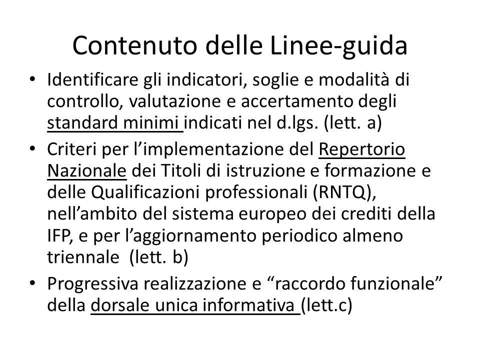 Contenuto delle Linee-guida Identificare gli indicatori, soglie e modalità di controllo, valutazione e accertamento degli standard minimi indicati nel