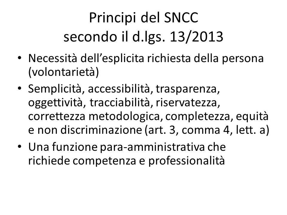 Principi del SNCC secondo il d.lgs. 13/2013 Necessità dellesplicita richiesta della persona (volontarietà) Semplicità, accessibilità, trasparenza, ogg