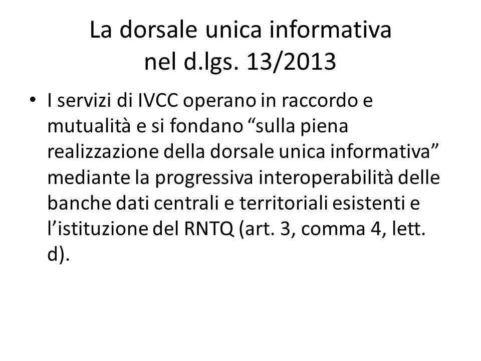 La dorsale unica informativa nel d.lgs. 13/2013 I servizi di IVCC operano in raccordo e mutualità e si fondano sulla piena realizzazione della dorsale