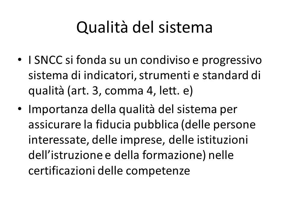 Qualità del sistema I SNCC si fonda su un condiviso e progressivo sistema di indicatori, strumenti e standard di qualità (art. 3, comma 4, lett. e) Im