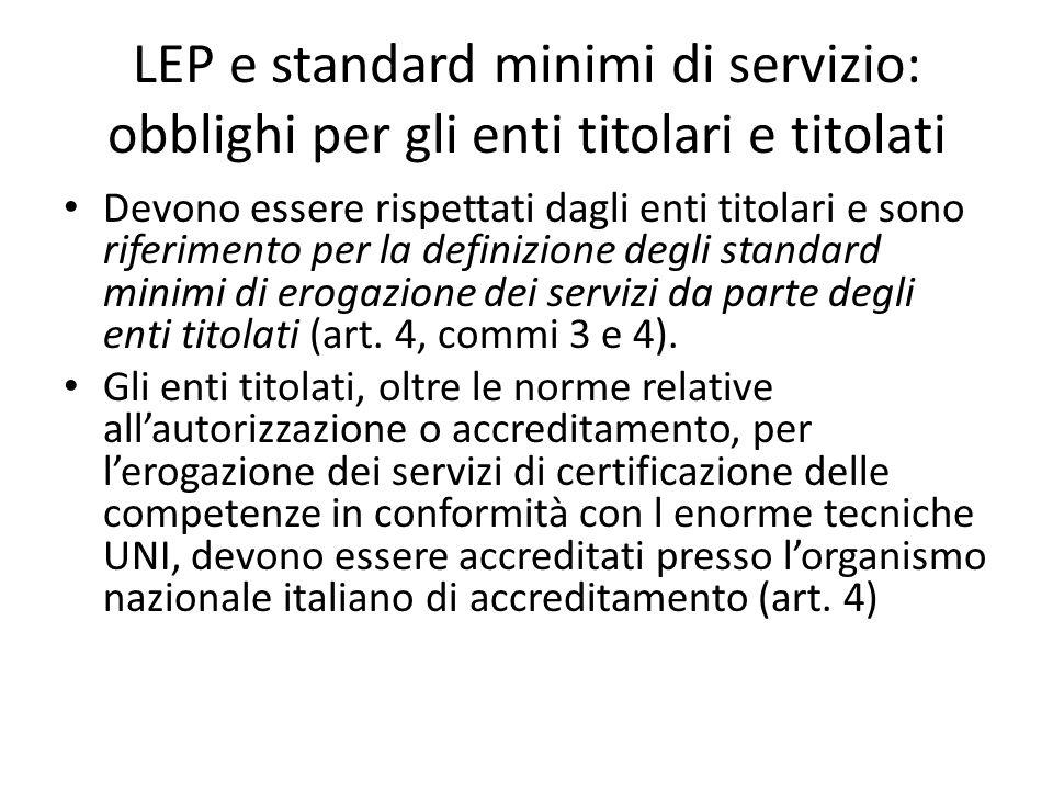 LEP e standard minimi di servizio: obblighi per gli enti titolari e titolati Devono essere rispettati dagli enti titolari e sono riferimento per la de