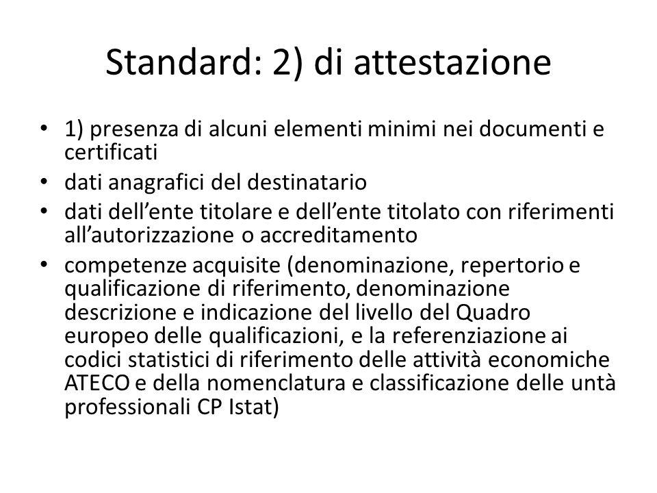 Standard: 2) di attestazione 1) presenza di alcuni elementi minimi nei documenti e certificati dati anagrafici del destinatario dati dellente titolare