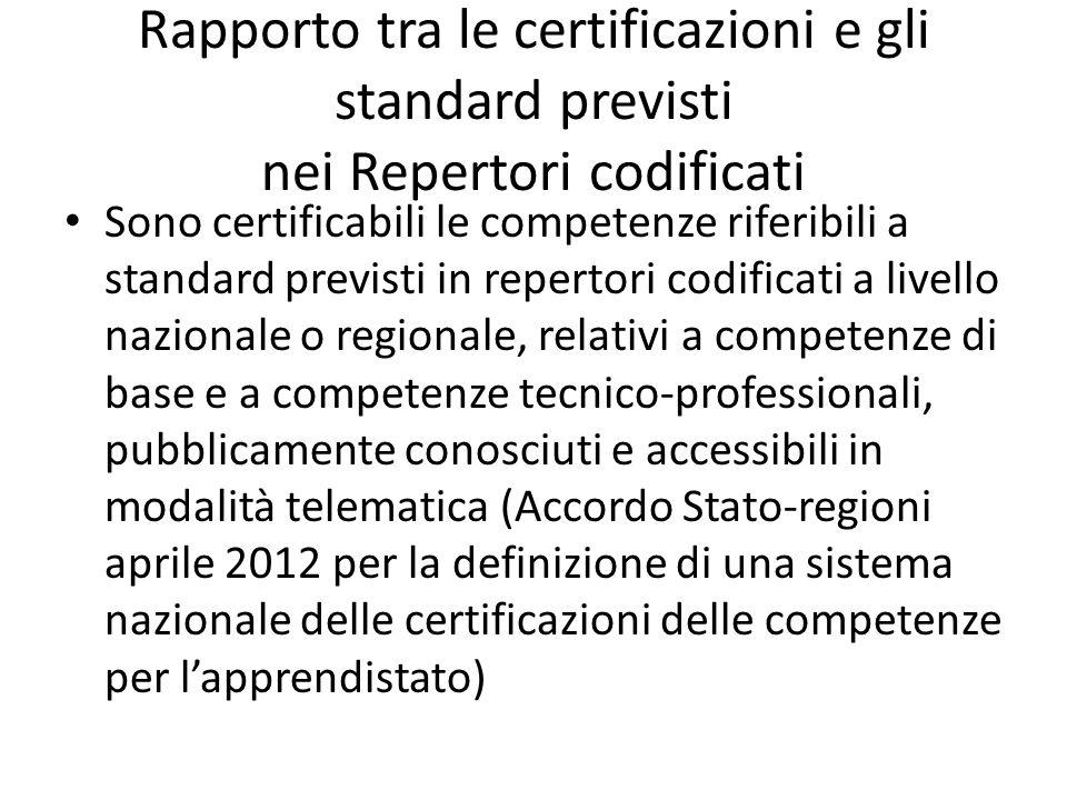 Rapporto tra le certificazioni e gli standard previsti nei Repertori codificati Sono certificabili le competenze riferibili a standard previsti in rep