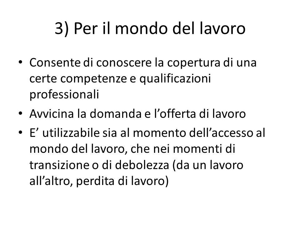 3) Per il mondo del lavoro Consente di conoscere la copertura di una certe competenze e qualificazioni professionali Avvicina la domanda e lofferta di