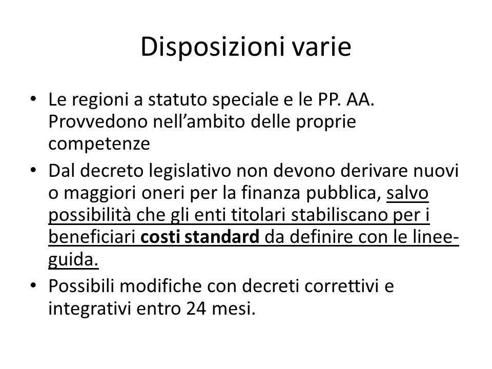 Disposizioni varie Le regioni a statuto speciale e le PP. AA. Provvedono nellambito delle proprie competenze Dal decreto legislativo non devono deriva