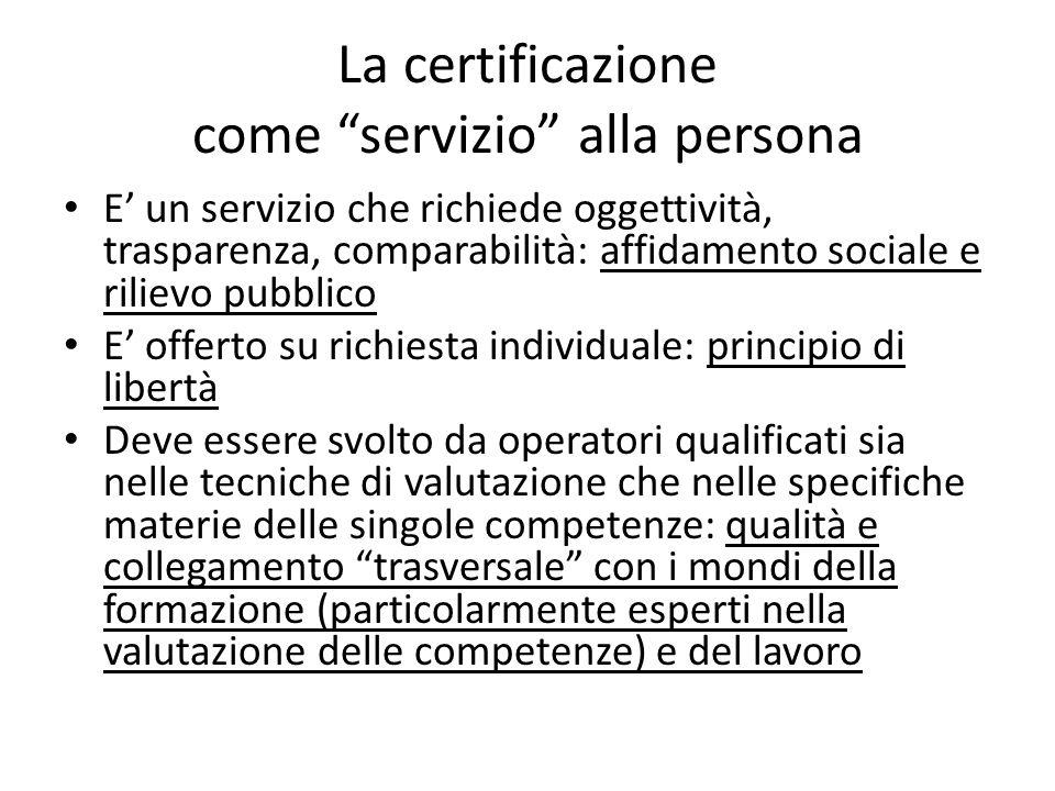 La certificazione come servizio alla persona E un servizio che richiede oggettività, trasparenza, comparabilità: affidamento sociale e rilievo pubblic