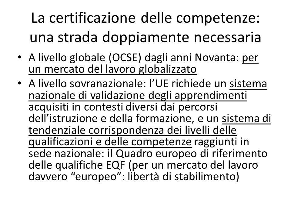La certificazione delle competenze: una strada doppiamente necessaria A livello globale (OCSE) dagli anni Novanta: per un mercato del lavoro globalizz