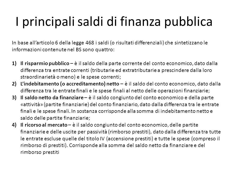 I principali saldi di finanza pubblica In base allarticolo 6 della legge 468 i saldi (o risultati differenziali) che sintetizzano le informazioni cont