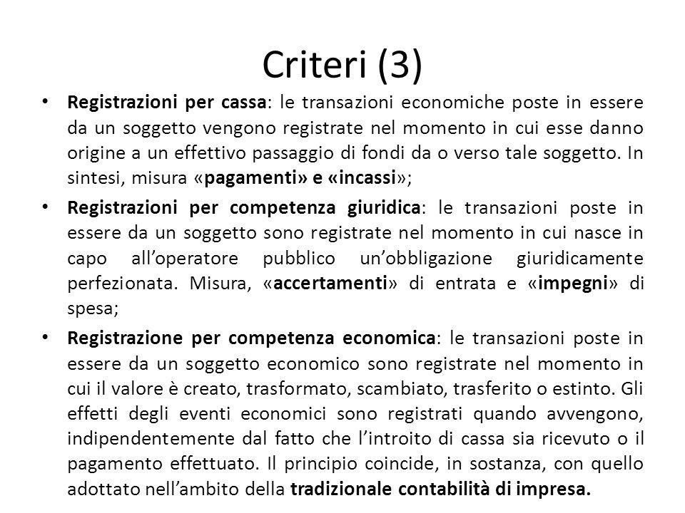 Criteri (3) Registrazioni per cassa: le transazioni economiche poste in essere da un soggetto vengono registrate nel momento in cui esse danno origine