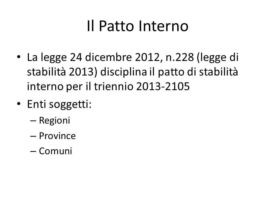 Il Patto Interno La legge 24 dicembre 2012, n.228 (legge di stabilità 2013) disciplina il patto di stabilità interno per il triennio 2013-2105 Enti so