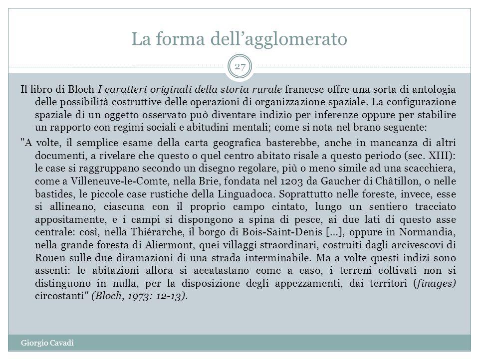 La forma dellagglomerato Il libro di Bloch I caratteri originali della storia rurale francese offre una sorta di antologia delle possibilità costruttive delle operazioni di organizzazione spaziale.