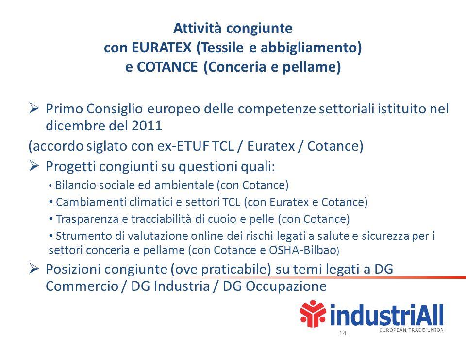 Attività congiunte con EURATEX (Tessile e abbigliamento) e COTANCE (Conceria e pellame) Primo Consiglio europeo delle competenze settoriali istituito