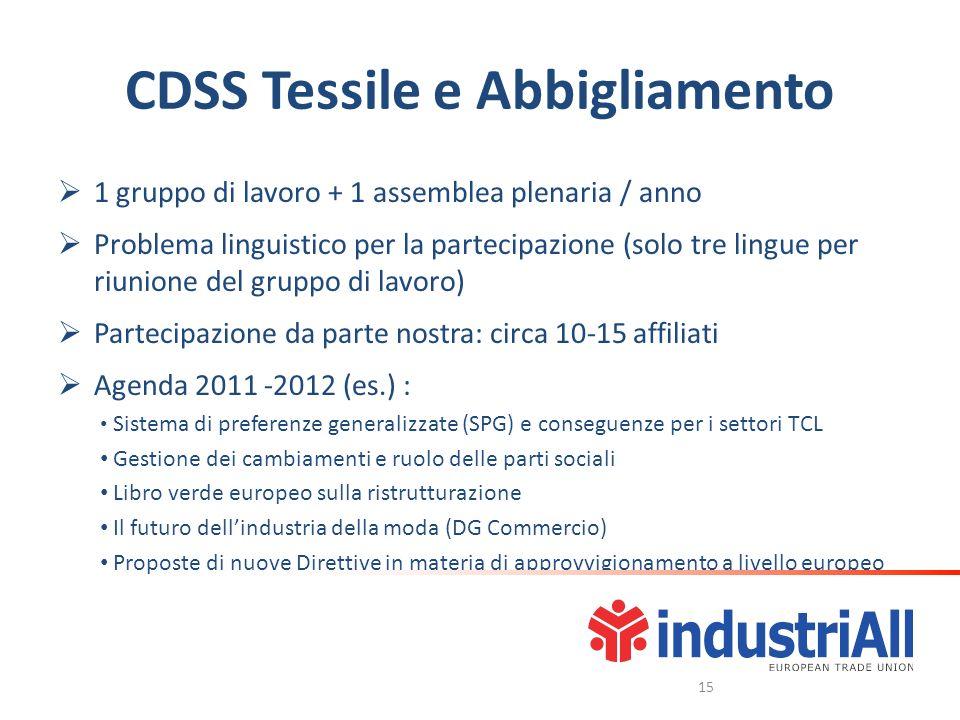CDSS Tessile e Abbigliamento 1 gruppo di lavoro + 1 assemblea plenaria / anno Problema linguistico per la partecipazione (solo tre lingue per riunione