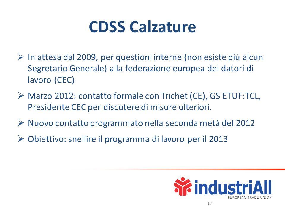 CDSS Calzature In attesa dal 2009, per questioni interne (non esiste più alcun Segretario Generale) alla federazione europea dei datori di lavoro (CEC