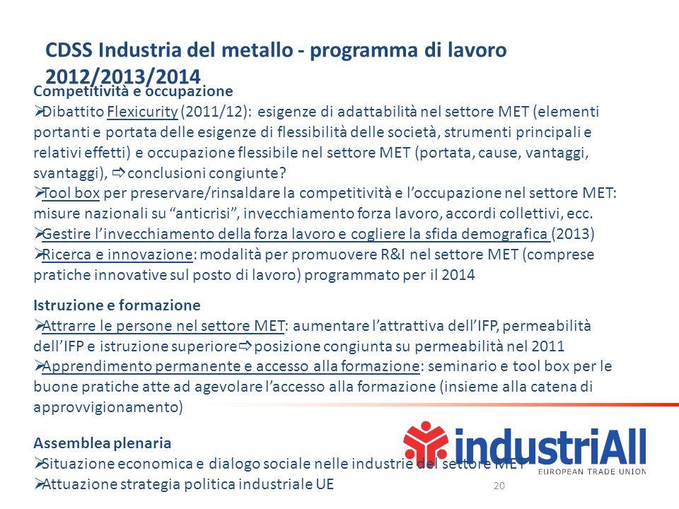 Competitività e occupazione Dibattito Flexicurity (2011/12): esigenze di adattabilità nel settore MET (elementi portanti e portata delle esigenze di f