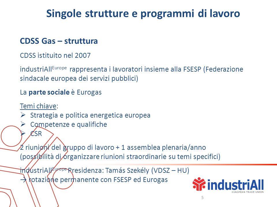 Singole strutture e programmi di lavoro CDSS Gas – struttura CDSS istituito nel 2007 industriAll Europe rappresenta i lavoratori insieme alla FSESP (F