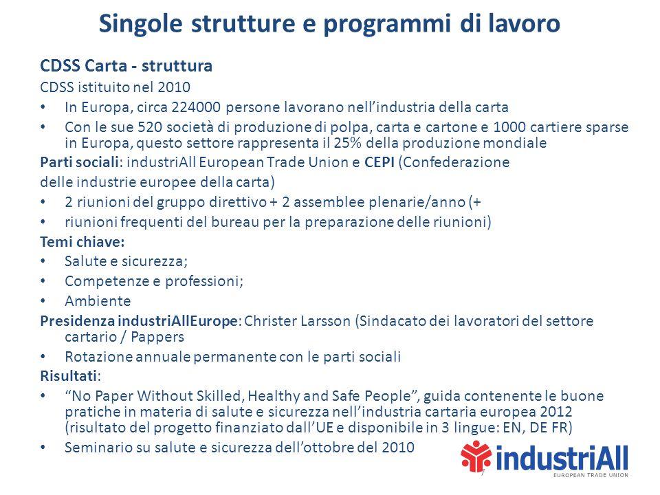 Singole strutture e programmi di lavoro CDSS Carta - struttura CDSS istituito nel 2010 In Europa, circa 224000 persone lavorano nellindustria della ca