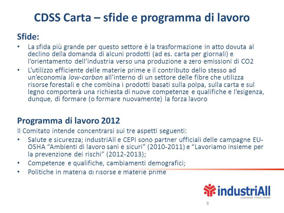 CDSS Carta – sfide e programma di lavoro Sfide: La sfida più grande per questo settore è la trasformazione in atto dovuta al declino della domanda di