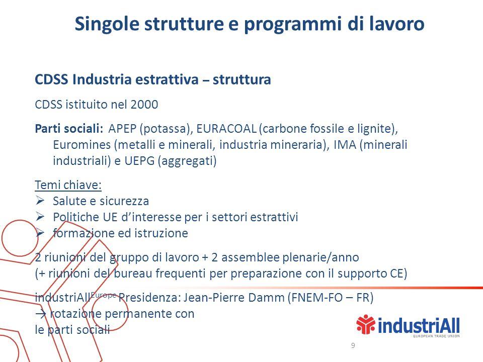 Singole strutture e programmi di lavoro CDSS Industria estrattiva – struttura CDSS istituito nel 2000 Parti sociali: APEP (potassa), EURACOAL (carbone