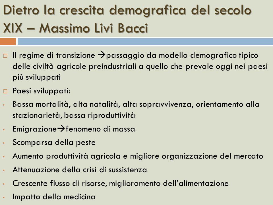 Dietro la crescita demografica del secolo XIX – Massimo Livi Bacci Il regime di transizione passaggio da modello demografico tipico delle civiltà agri
