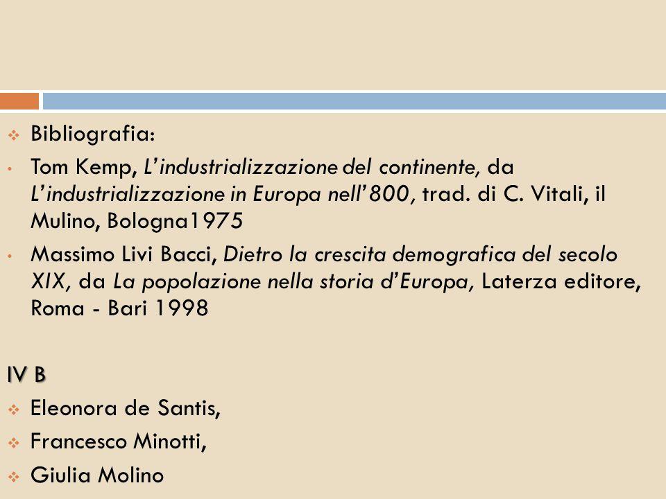Bibliografia: Tom Kemp, Lindustrializzazione del continente, da Lindustrializzazione in Europa nell800, trad. di C. Vitali, il Mulino, Bologna1975 Mas
