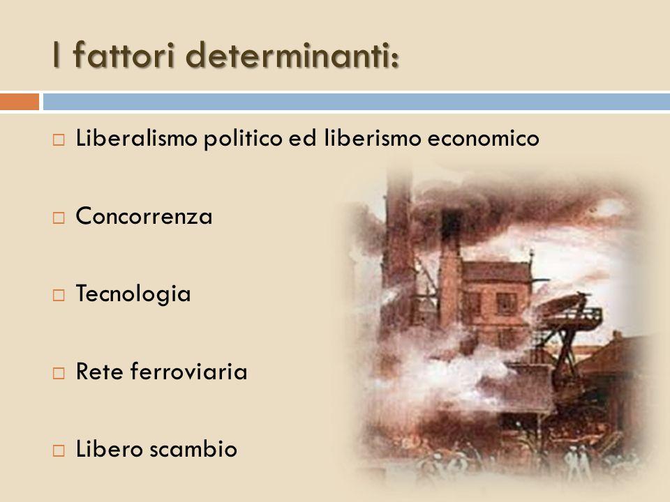 I fattori determinanti: Liberalismo politico ed liberismo economico Concorrenza Tecnologia Rete ferroviaria Libero scambio