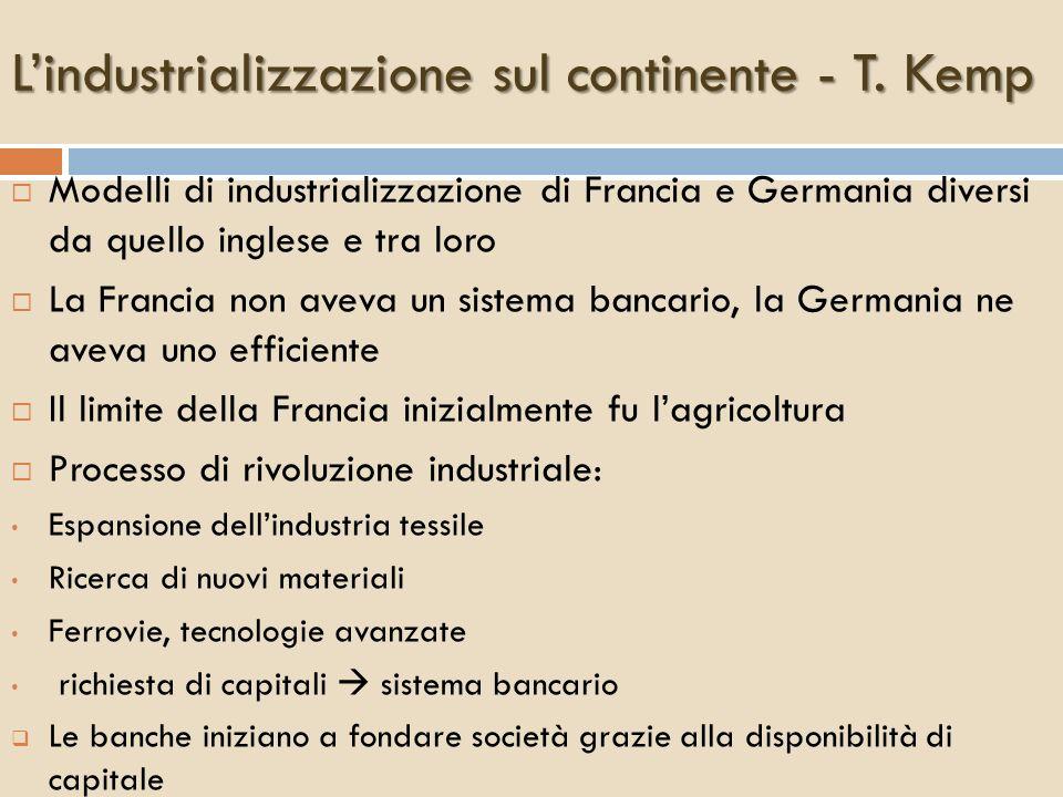 Lindustrializzazione sul continente - T. Kemp Modelli di industrializzazione di Francia e Germania diversi da quello inglese e tra loro La Francia non