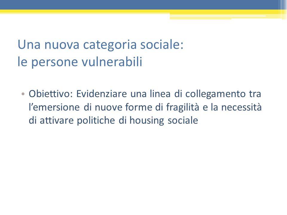 Una nuova categoria sociale: le persone vulnerabili Obiettivo: Evidenziare una linea di collegamento tra lemersione di nuove forme di fragilità e la n