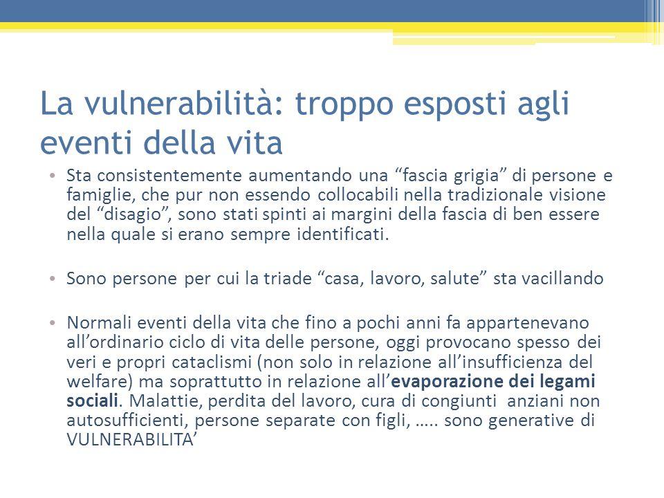 La vulnerabilità: troppo esposti agli eventi della vita Sta consistentemente aumentando una fascia grigia di persone e famiglie, che pur non essendo c