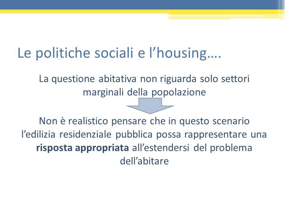 Le politiche sociali e lhousing…. La questione abitativa non riguarda solo settori marginali della popolazione Non è realistico pensare che in questo