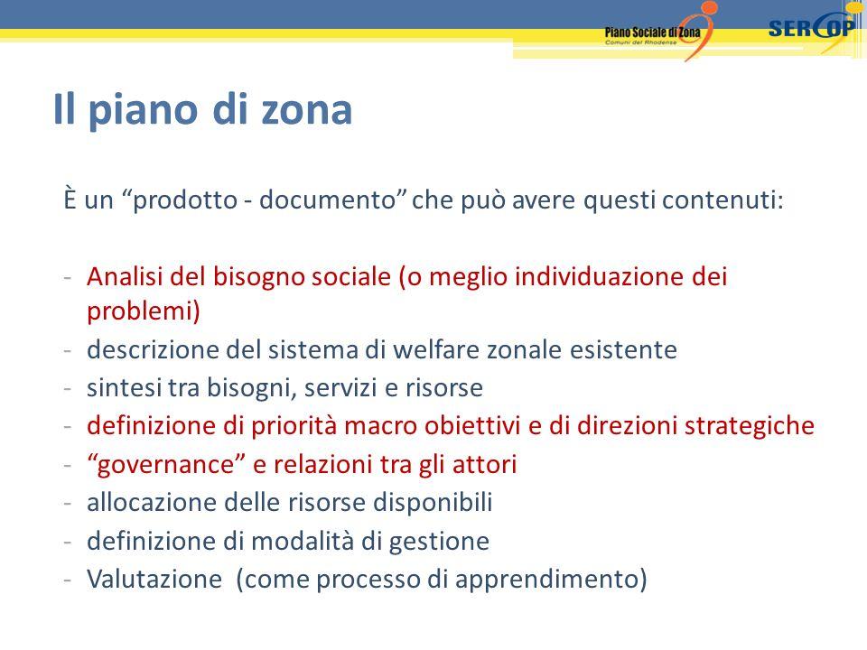 È un prodotto - documento che può avere questi contenuti: -Analisi del bisogno sociale (o meglio individuazione dei problemi) -descrizione del sistema