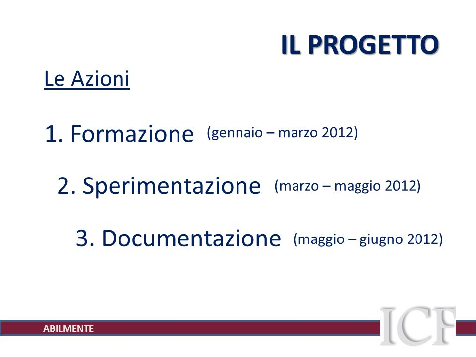 ABILMENTE IL PROGETTO Le Azioni 1. Formazione 3.