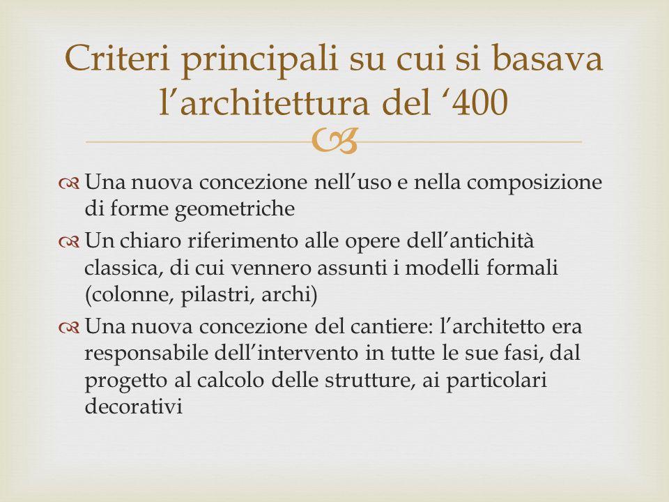 Una nuova concezione nelluso e nella composizione di forme geometriche Un chiaro riferimento alle opere dellantichità classica, di cui vennero assunti